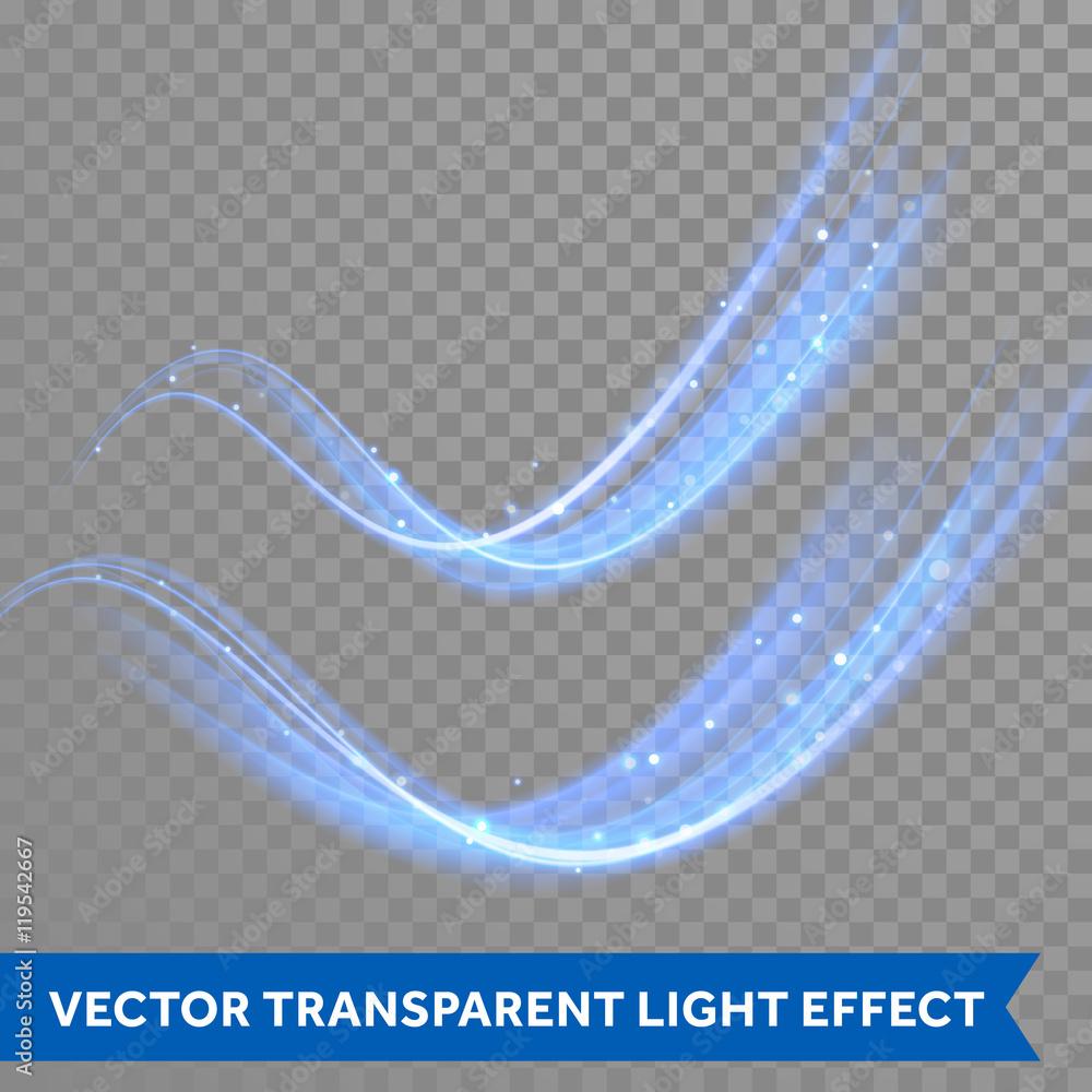 Fototapeta Vector magic glowing spark swirl trail