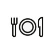 Plate with fork and knife restaurant menu icon
