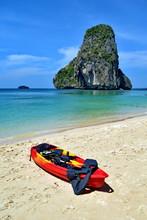 Red Kayak On Reiley Beach.KRABI THAILAND.