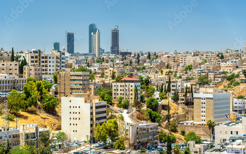 Carta da parati Cityscape of Amman downtown with skyscrapers at background