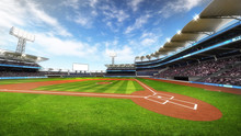 Baseball Stadium With Fans At ...