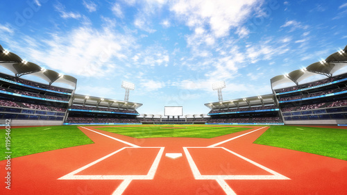 baseball stadium playground with blue cloudy sky Canvas Print