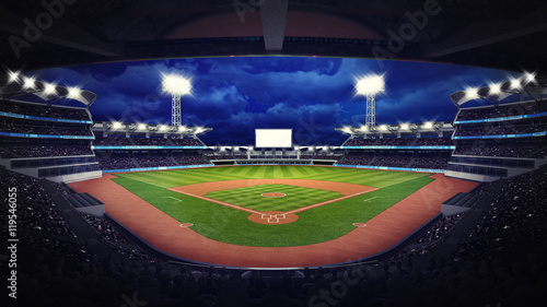 baseball stadium under roof view with fans Wallpaper Mural
