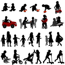 Toddlers And Kids Silhouettes - Vector