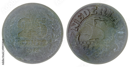 Poster  25 cents 1942 coin isolated on white background, Netherlands