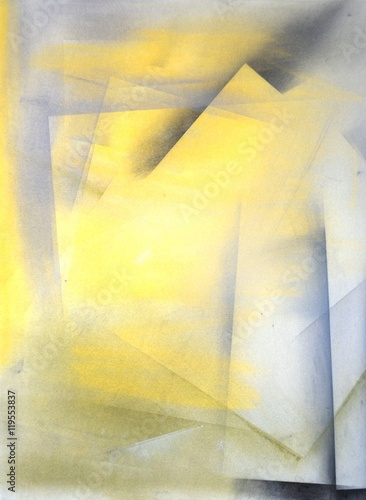 Grey and Yellow Abstract Art Painting - 119553837