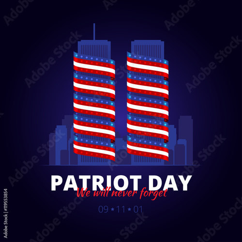 Fotografia  Vector illustration to the patriot day in America