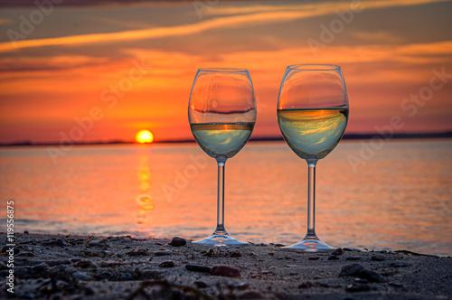 Foto  Strandbild Weinglas