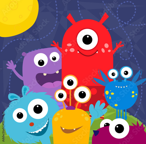 Fotografie, Obraz  Happy Monsters - Colorful and cute monsters greeting card design