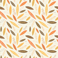Falling Autumn Leaves Seamless Pattern