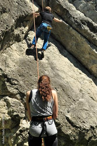 Foto op Canvas Alpinisme Felsklettern