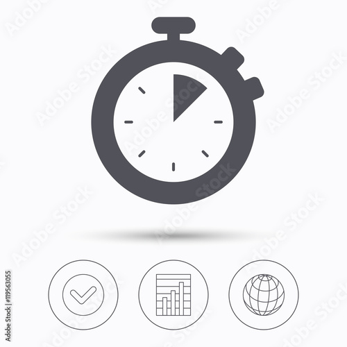 Photo  Stopwatch icon. Timer or clock device sign.