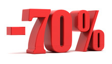 70 Percent Discount 3d Text
