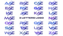 3 Letters Modern Generic Swoosh Logo AAC, BAC, CAC, DAC, EAC, FAC, GAC, HAC, IAC, JAC, KAC, LAC, MAC, NAC, OAC, PAC, QAC, RAC, SAC, TAC, UAC, VAC, WAC, XAC, YAC, ZAC