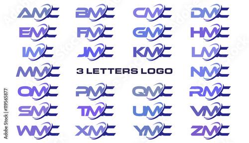 Photo 3 letters modern generic swoosh logo AMC, BMC, CMC, DMC, EMC, FMC, GMC, HMC, IMC