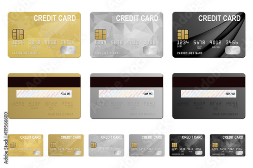 Fotografie, Obraz  Vector credit cards set, isolated.