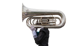 A Man Playing A Euphonium Isol...