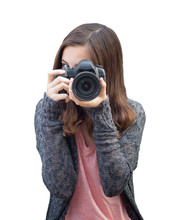 Attractive Mixed Race Young Woman With DSLR Camera On White