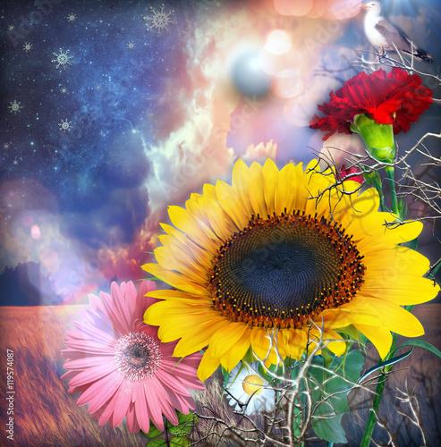 Girasole,garofano e fiori tropicali sotto un cielo stellato con la luna piena - 119574087