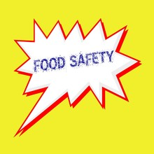 Food Safety Blue Wording On Speech Bubbles Background Yellow White
