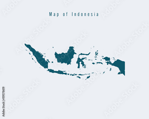 Wall Murals Form Modern Map - Indonesia with federal states