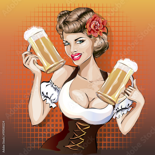 Oktoberfest woman with beer...