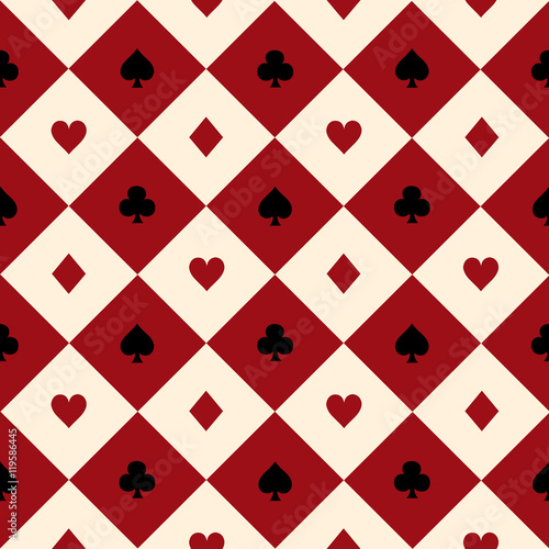 Card Suits Red Burgundy Cream Beige Black White Chess Board Diamond Background Vector Illustration. - 119586445