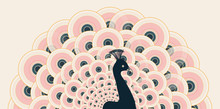 Stylized Peacock With Open Tail In A Pink And Dark Blue Color Palette