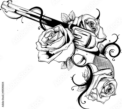 pistola con rose Wallpaper Mural