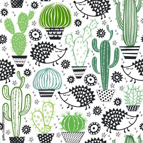 Cotton fabric Hedgehogs & cactus. Seamless vector pattern.