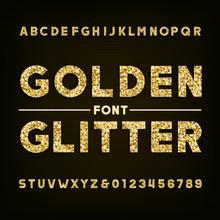 Golden Glitter Alphabet Font. ...