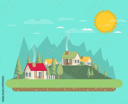 Printed kitchen splashbacks Light blue Houses. Flat style. Mountains and trees.