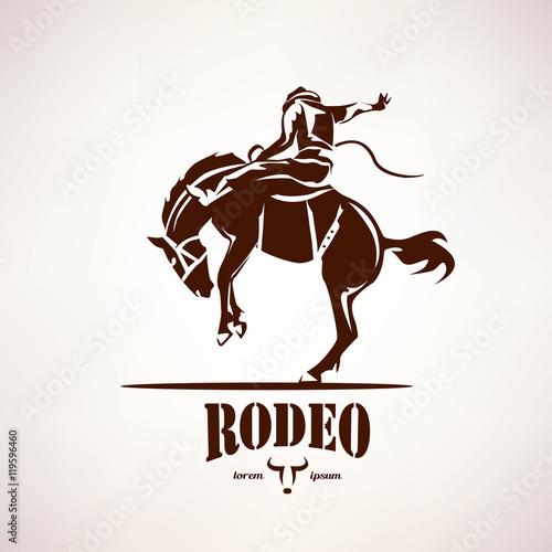 Fotografía  rodeo horse symbol, stylized vector silhouette
