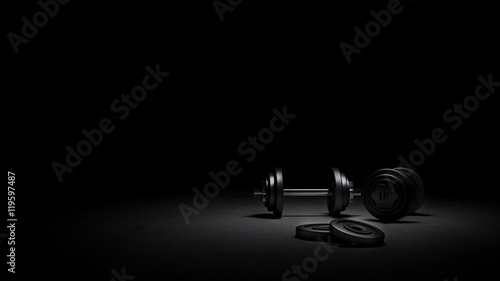 Fotografia  Gym weights under strong dramatic lighting, 3D rendering of gym weights