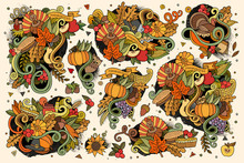 Set Of Thanksgiving Objects And Symbols