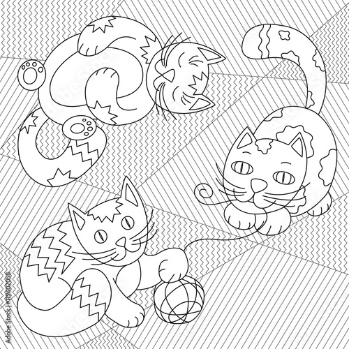 Cute Cats playing with clew on striped carpet - coloring page for ...