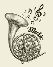 Hand-drawn Musical French Horn. Sketch Vintage Trumpet. Vector Illustration