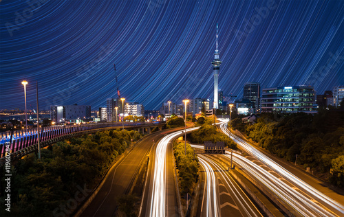 Fotografie, Obraz  Auckland City Lights  Auckland's Night Traffic after dusk