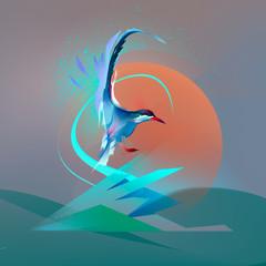 Naklejka Bird seagull tern