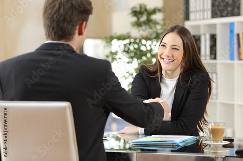 Fotografie, Obraz  Businesspeople handshaking after negotiation