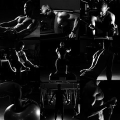Collage of different bodybuilders images in gym. Beautiful man b