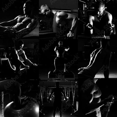 In de dag Muziekband Collage of different bodybuilders images in gym. Beautiful man b