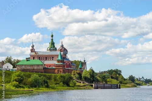 Fényképezés  Nikolsky Monastery on the bank of the Volkhov river in Staraya L