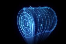 Rotation Fan Turbine In Hologram Wireframe Style. Nice 3D Rendering