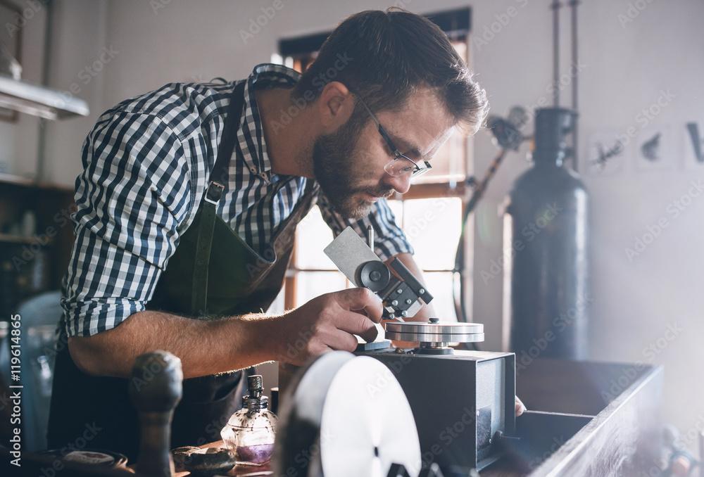 Fototapeta Precision jewelry crafting in progress