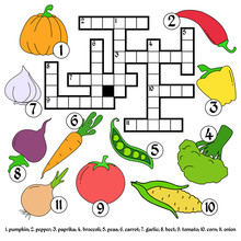 Multicolored Crossword. Education Game. Different Vegetables In A Flat Style.