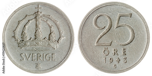 Poster  25 ore 1943 coin isolated on white background, Sweden