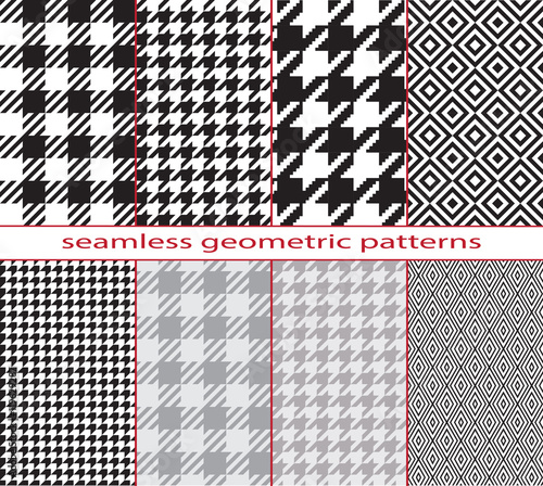 Photo  Set of seamless color geometric patterns