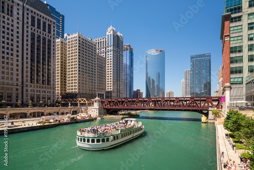 Poster Chicago The Chicago River and downtwn Chicago skylinechicago, river, lak