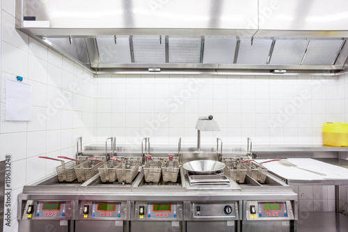 empty fryer in stainless steel